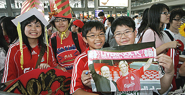 Torcedores do Liverpool em Hong Kong