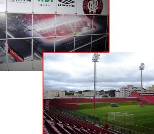 Maquete da Arena finalizada e imagem atual