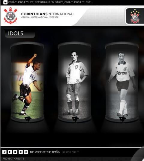 Marcelinho, Neco e Neto estão na galeria do novo site internacional do Corinthians